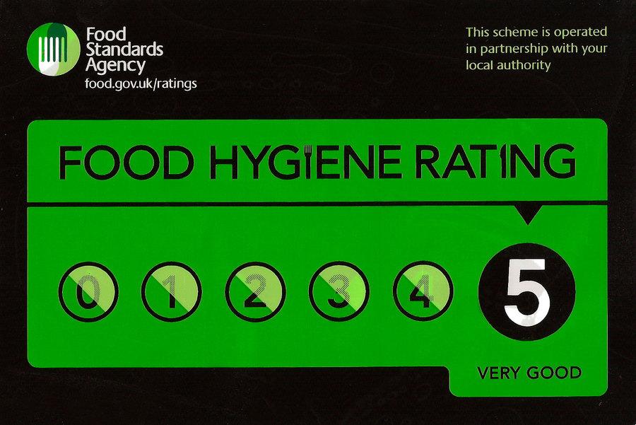 5 Star UK food hygiene rating at Sahebs